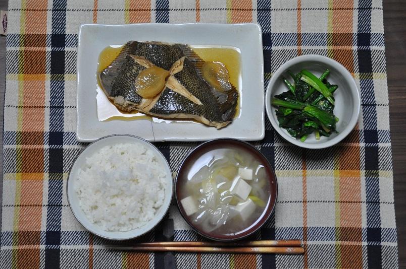 カレイの煮魚定食