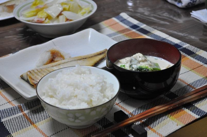 豆乳味噌汁・鯖塩焼き定食