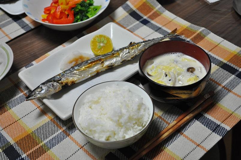豆乳味噌汁・サンマ塩焼き定食