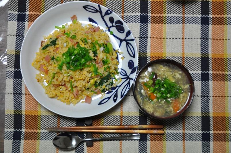 ホウレンソウ入りチャーハン+シイタケ・卵スープ