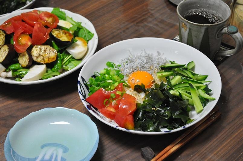 ぶっかけうどん+サラダ