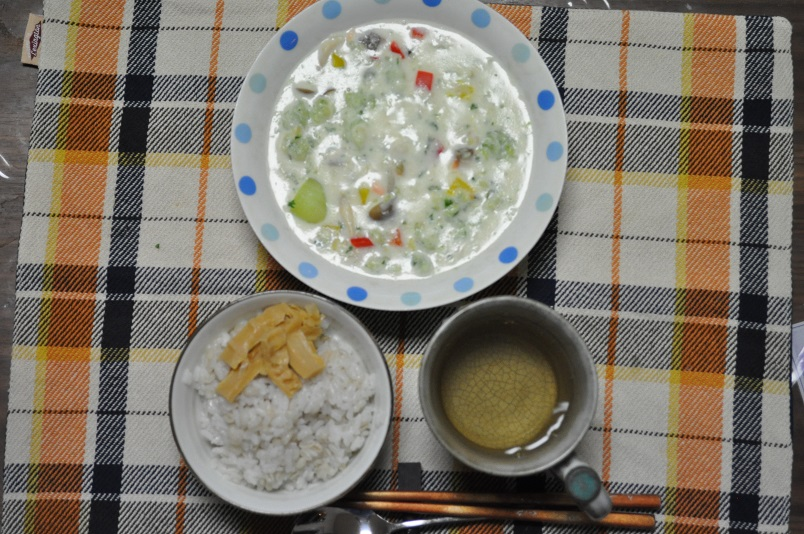 青梗菜と鮭のクリーム煮