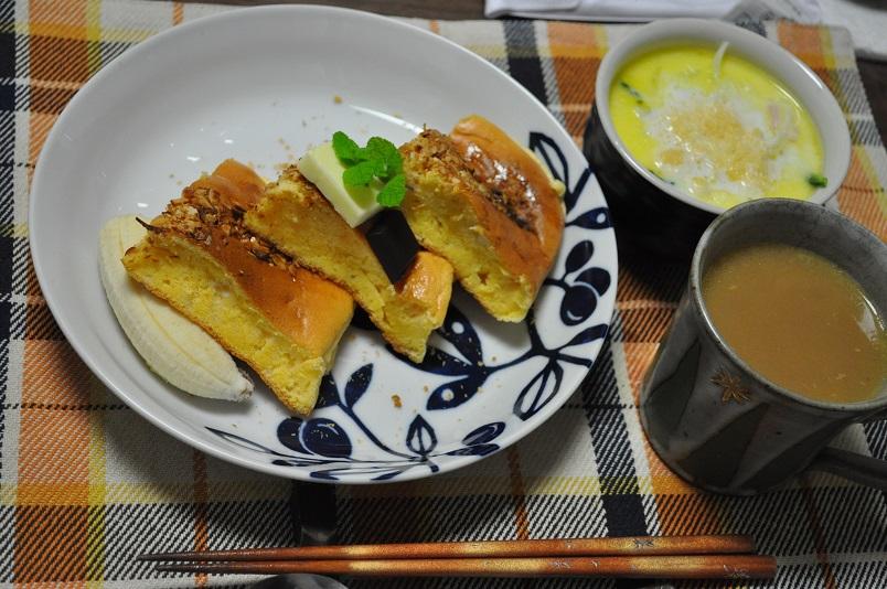 パンケーキ&小松菜とベーコンのクリームスープ
