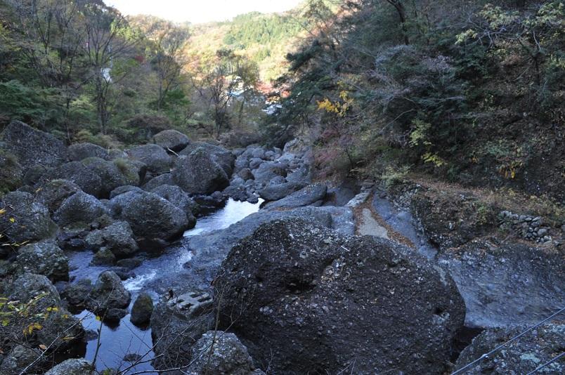 川下の岩々