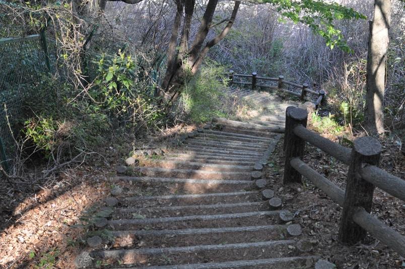 急な階段である